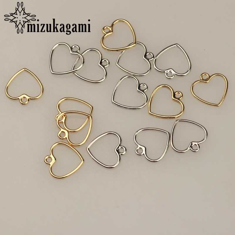 20pcs/lot 12MM Zinc Alloy Gold Silver Mini Sweet Hollow Love Heart Shape Charms For DIY Earrings Jewelry Making Accessories