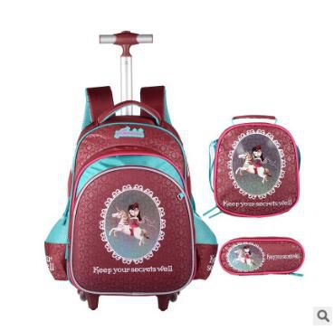 เด็ก Rolling กระเป๋าสำหรับโรงเรียนเด็กรถเข็นกระเป๋าล้อนักเรียนกระเป๋าเป้สะพายหลังกระเป๋าเป้สะพายหลังสำหรับสาวกระเป๋าเดินทางกระเป๋ารถเข็น-ใน กระเป๋านักเรียน จาก สัมภาระและกระเป๋า บน   1