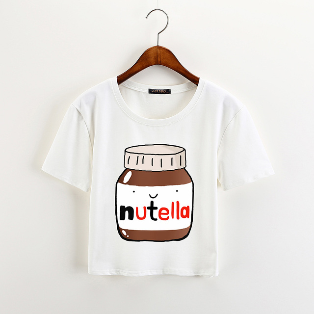 Nutella Milk Print Crop Tops T-Shirt