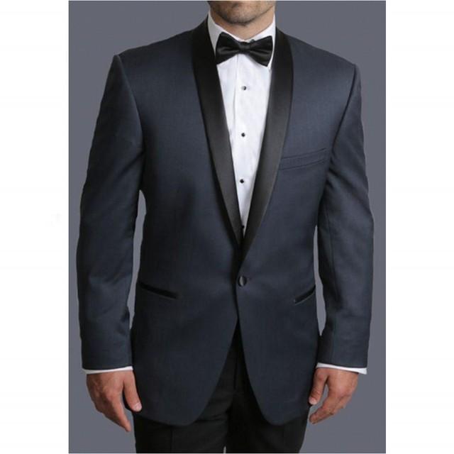 Envío Libre Por Encargo de Slim Fit Hombres Traje Negro Tuxedo Mantón de la Solapa de Un Solo Botón Para Los Hombres Traje de Boda Del Novio (Jacket + Pants + Bow)