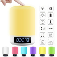 Multifunction Night Light 5W Smart Touch Wireless Bluetooth Speaker Music Clock LED Bedside Lamp Dimmable Colorful Night Lights