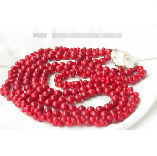 Prett Lovely Womens Wedding FREE shipping> >>>>Noble 3strands Natural coral necklace flower Shell cam