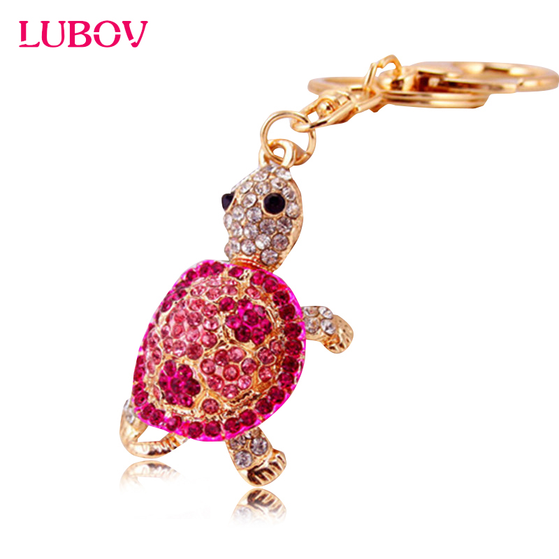 Cute Trinket Gold-color Rhinestone Tortoise Keychains Metal Car Keyring 2016 Fashion Animal Turtle Women Handbag Key Holder