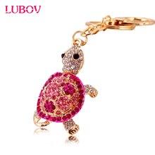 cute Trinket Gold-color Rhinestone Tortoise Keychains Metal Car Keyring 2016 Fashion Animal Turtle Women Handbag Key Holder