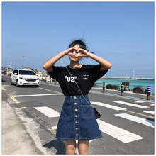 Summer Plus Size High Waist Korean Girls Denim Shirt Women Loose Jeans Skirt Women with Button Pocket trendy round neck hollow out t shirt button down pocket denim skirt women s twinset page 7