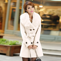 woman coats winter 2018 Lapel Wool Coat Trench Jacket Long Sleeve Overcoat white warm Outwear abrigos mujer invierno 2018