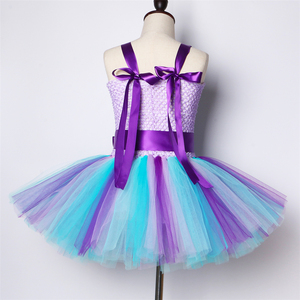 Image 4 - Girls Mermaid Tutu Dress with Headband Outfit Under The Sea Birthday Theme Party Dress for Kids Girl Princess Mermaid Costume