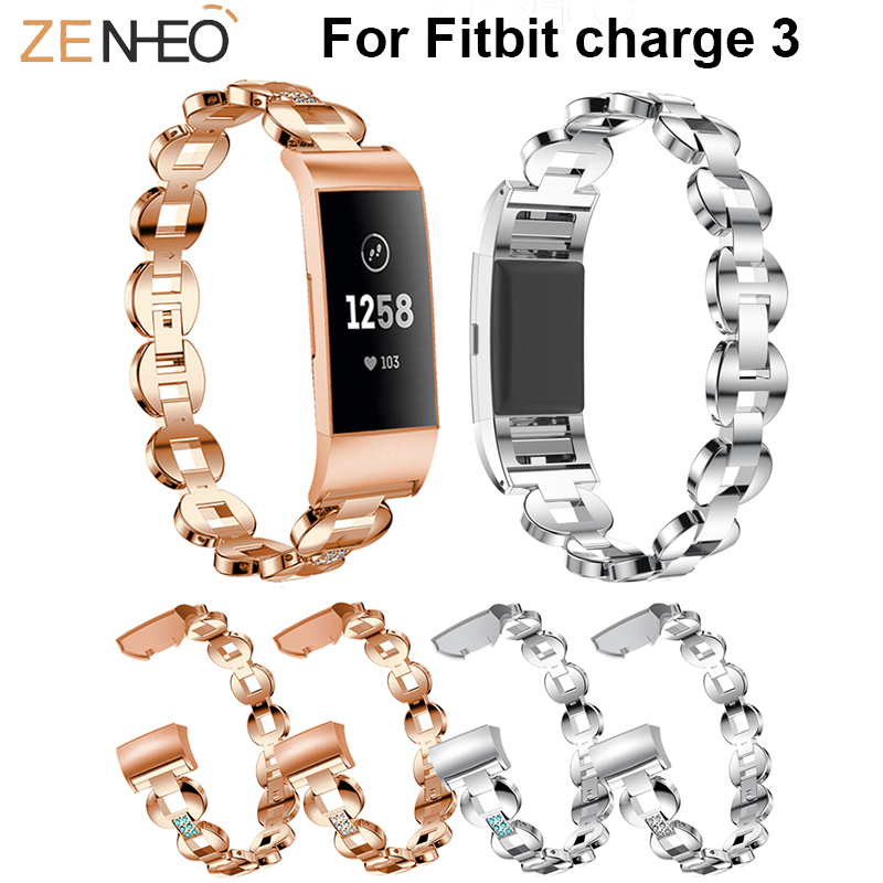 For Fitbit Charge 3 Wristband Luxury Watch Band Rhinestone Metal Bracelets watch strap Replacement Straps