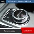 Multimídia botão decorativo adesivo 3D Para Mercedes ABL/GLK/A/B/C/E classe emblema acessórios interiores