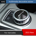 Multimedia button decorative 3D sticker For Mercedes GLA/GLK/A/B/C/E class emblem interior accessories