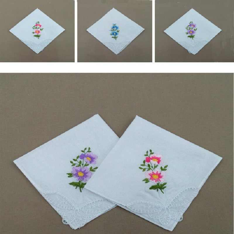 Vintage Cotton Women Hankies Embroidered Butterfly Lace Flower Hanky Floral Assorted Cloth Ladies Handkerchief Fabrics 28cm wh