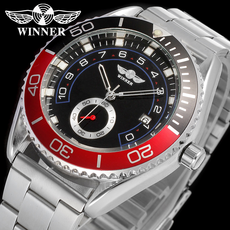 font b WINNER b font Men Luxury Brand Date Display Silver Stainless Steel Watch Automatic