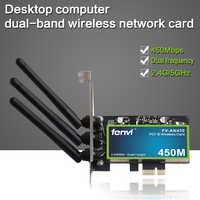 Wireless-N doble banda 450Mbps PCI Express WiFi adaptador PCI-e Intel tarjeta de red 802.11a/g/n con 3 antenas para PC de escritorio