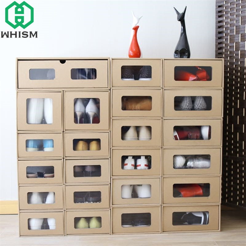 WHISM DIY Kraft Paper Shoes Box Rectangle Shoes Organizer Jewelry Holder Sundries Container Storage Boxes Home Drawer Shoebox