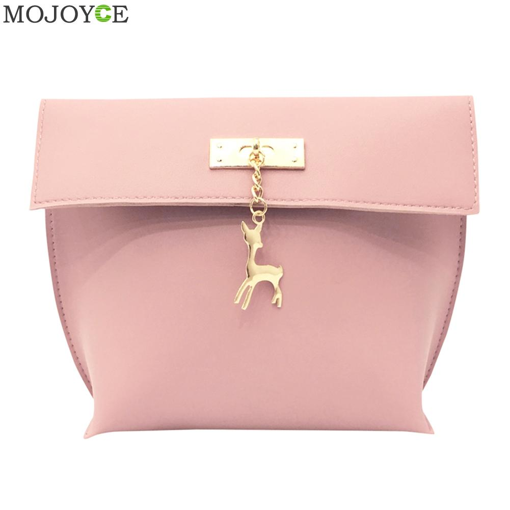 2018 New Retro Women Messenger Bags Candy Color Shell Bag Casual PU Leather Shoulder Bag Fashion Women Mini Bag With Deer Toy
