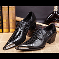 Whoesale Black Leather Shoes Snake Skin Men's Oxford Party Shoes Metal Pointed Toe Men Wedding Shoes Lace Up Chaussure Homme