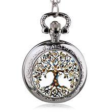 Fashion Silver Stainless Steel Tree Of Life Chain Luminous Pocket Watch Necklace Women Jewelry Glowing Pendant Chain(China)