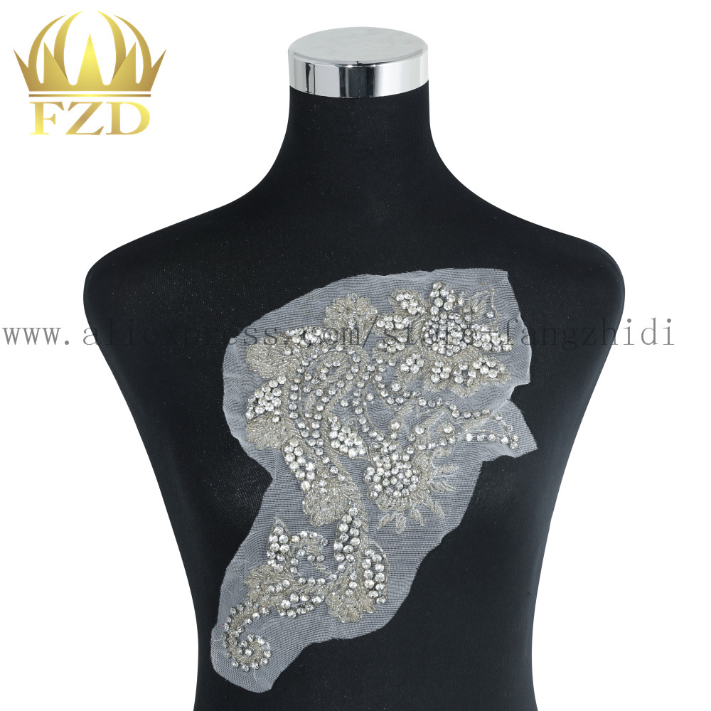 Sewing On Beaded Bling Rhinestone and Crystals Applique for Clothing Wedding Dresses