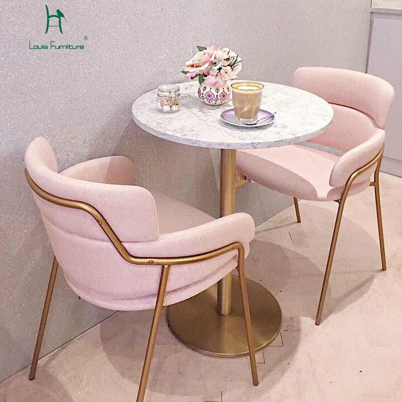 Louis Fashion Living Room Chairs Pink Bar Dessert Milk Tea Western