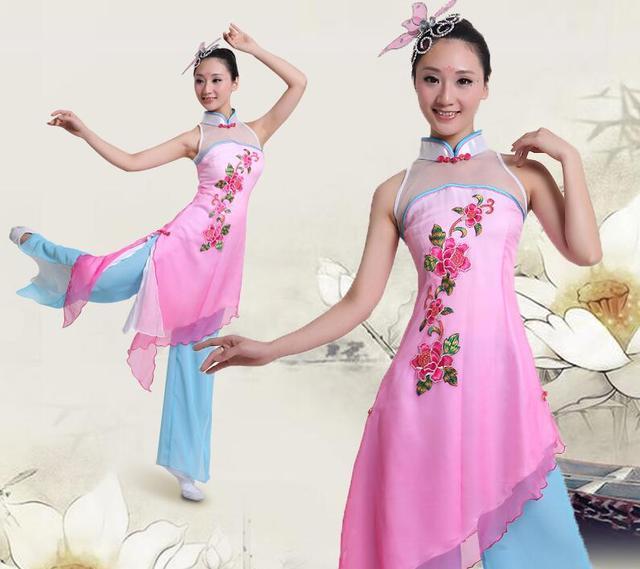 3XL Mulheres Traje Yangge Dança do Traje Da Moda Sem Mangas Blusa + Calça Crianças Traje Chinês Dança Grupo Dnacer Vestido 16