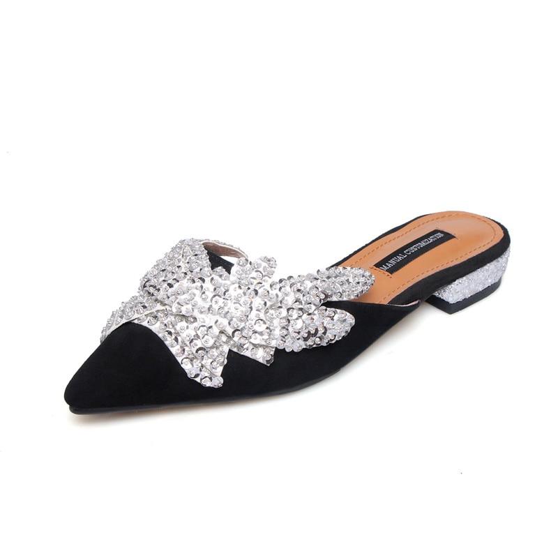 Populaire Nouvelle Chaussures Partie Arrivée Pantoufle Morazora Bout Femme En D'été Mode Noir Daim 2019 rose Cuir Pointu À L'extérieur pourpre Femmes mON8nwyPv0