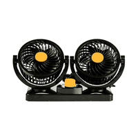 Car Mini Dual Air Fans 360 Vent Adjustable Vehicle Rotation Cooling Cooler Low Noise Summer Auto