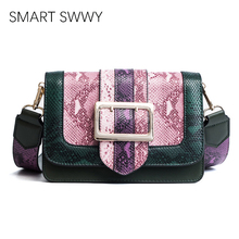 2019 Fashion Womens New Vintage Snake Contrast Small Square Bag One Shoulder Crossbody Wide Strap