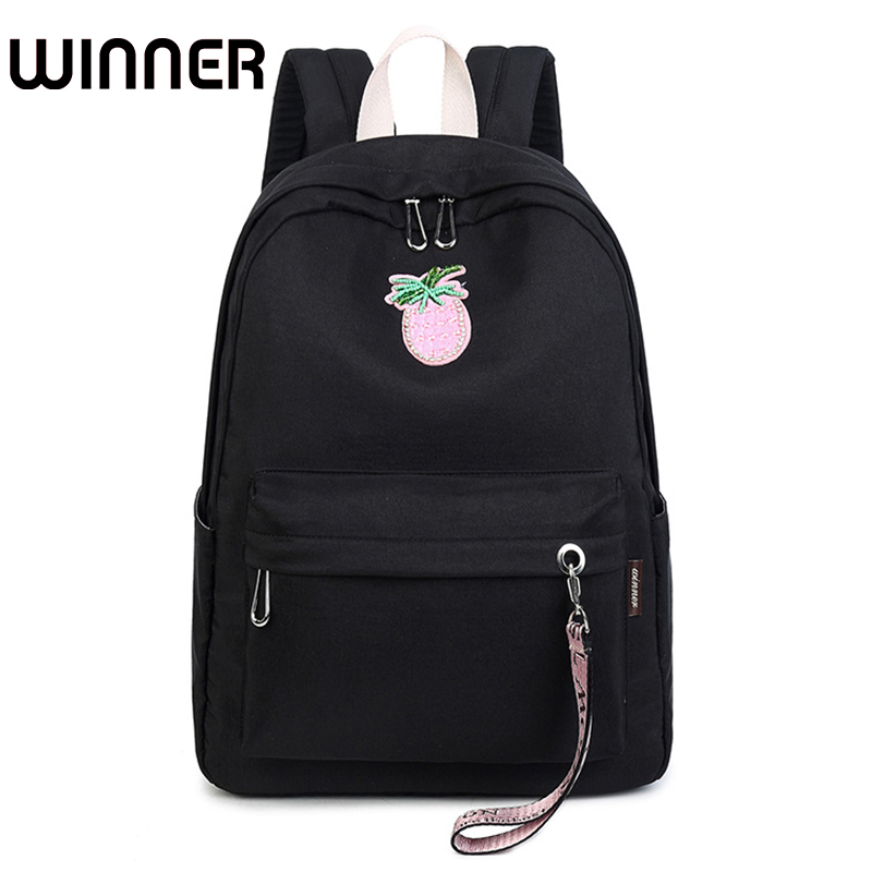 Cute Waterproof Women Backpack Diamonds Strawberry Pattern Printing Solid Color Large Capacity Girls Rucksack юбка strawberry witch lolita sk