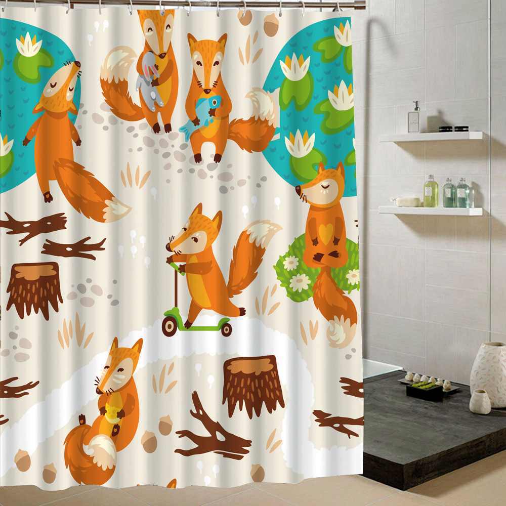 The Cute Rabbit with Love Say Hello To Us and The Lively Bee Is Flying Happily In The Spring Shower Curtain Cartoon Pattern