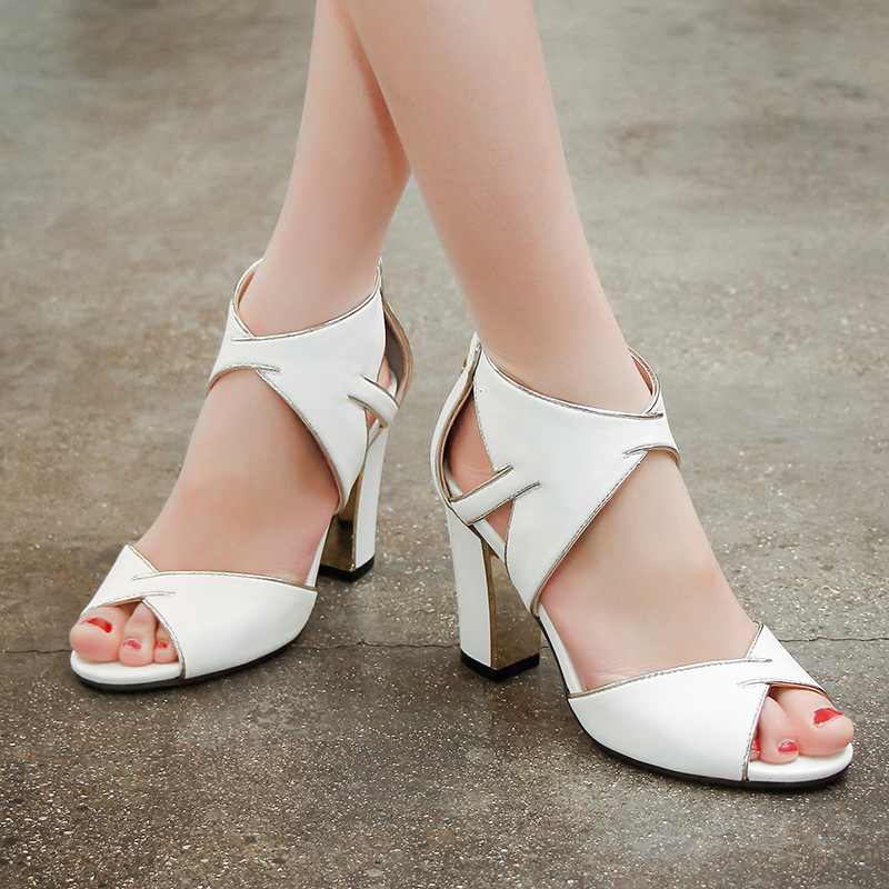 ФОТО Fashion Desig Summer Style High Heels Ladies Shoes Checkered Pointed Toe Shoes Women Pumps Gladiator Sandals Zapatos Mujer