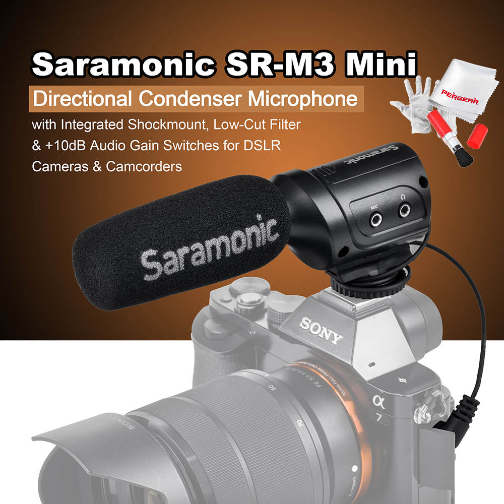 Saramonic SR M3 Mini Directional Condenser Microphone with Integrated Shockmount Low Cut Filter 10dB Audio Gain