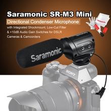 Saramonic sr-m3 мини направленная конденсаторный микрофон со встроенным Shockmount Обрезной фильтр и + 10db Усиление звука Настенные переключатели