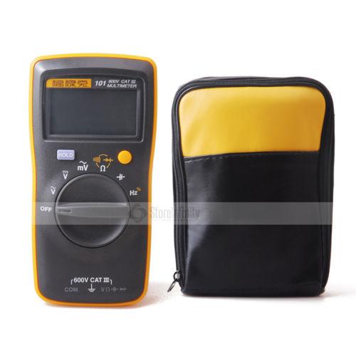 New Fluke 101 Basic Palm-sized Mini Pocket auto range Digital Multimeter AC/DC Voltage Resistance Capacitance With Soft Case