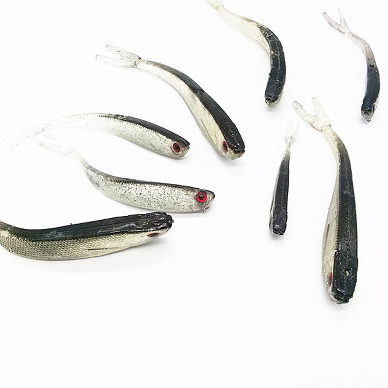 10Pcs 8cm/2g Soft Rubber Fishing Baits Lure Drop Shot Lure Shad for Perch Pike Trout Tail Lure Fishing Accessories