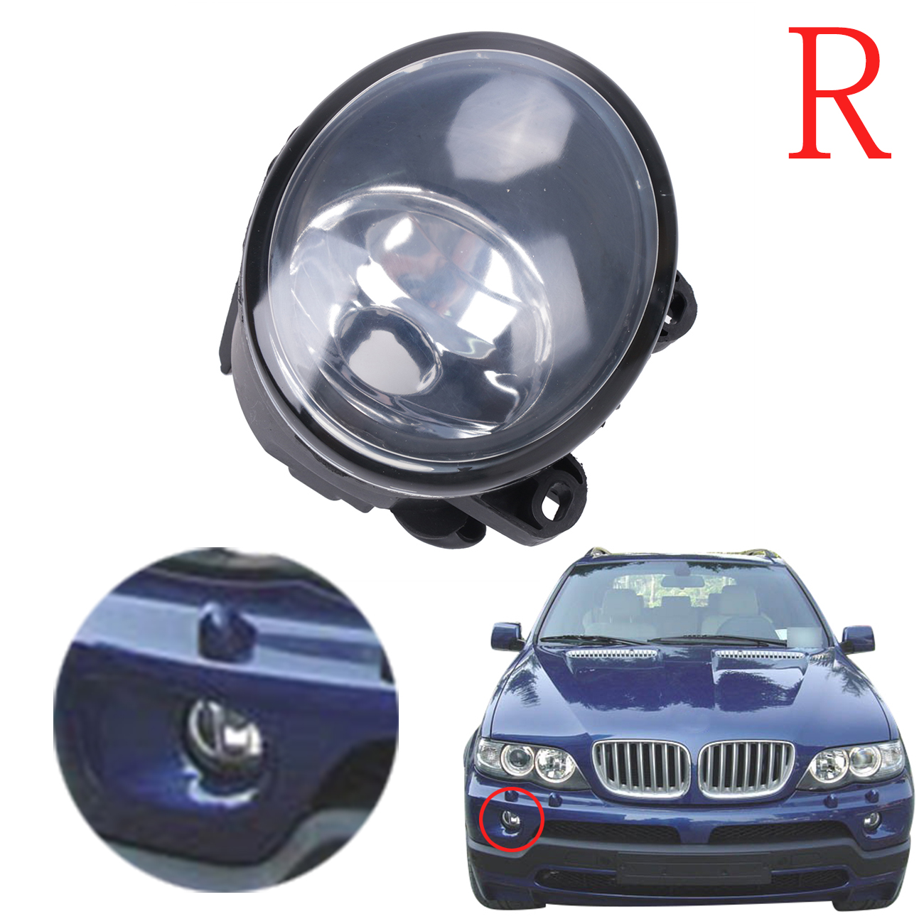 Right Side Front Bumper Driving Fog Light For BMW E53 X5 2003 2004 2005 2006 Clear Lens Foglight Lamp 63176920886 #W084-R for vw golf 5 2004 2005 2006 2007 2008 2009 right side high quality 9 led front fog lamp fog light
