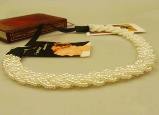 Freeshipping velkoobchod módní perla elastický čelenka do vlasů vlasový doplněk na vlasy 12ks / lot