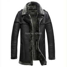 2017 Men's the Most Thick Slim Commercial Fashion Guaranteed Real Sheepskin Fur Genuine Leather Suede Male Coat Clothing Jacket