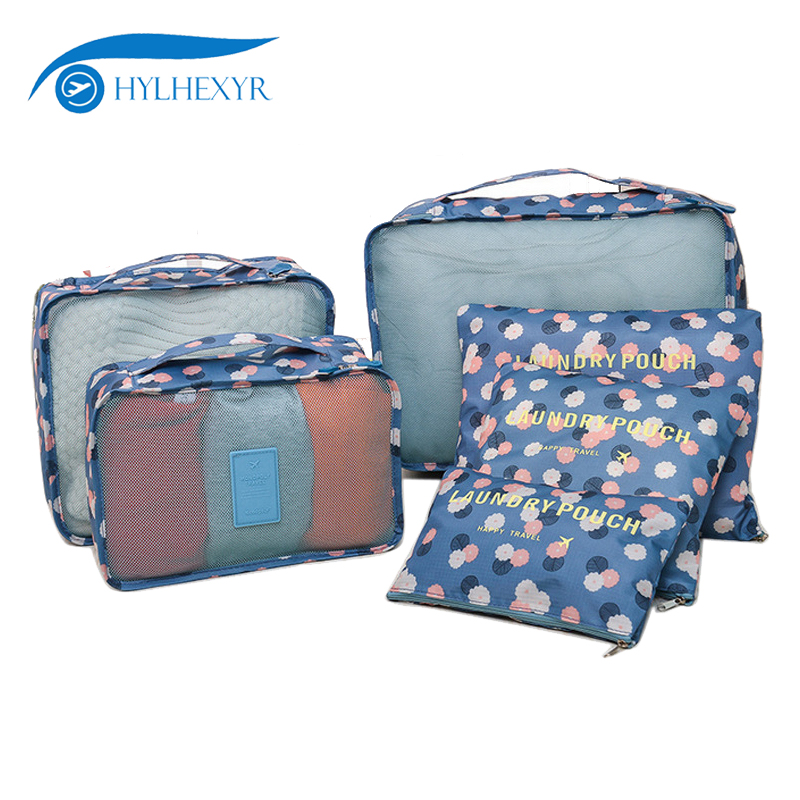 Hylhexyr Pack Of 6 Packing Cubes Travel Bag Sets Clothing Sorting Package Bag Flower Printe Luggage Organizer Laundry Bags