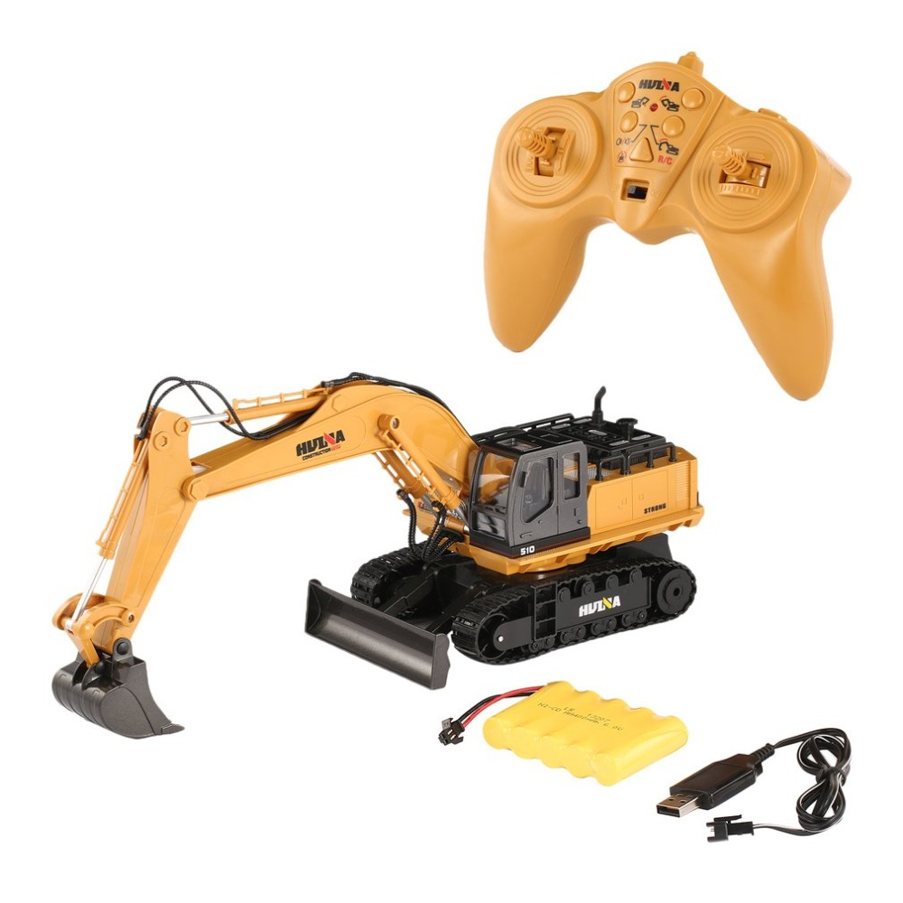 Hot! HUINA TOYS Car 1510 2.4G 1/16 11CH Alloy RC Excavator Truck Engineering Construction Vehicle with 680' Rotation Sound Light huina 1510 rc excavator car 2 4g 11ch metal remote control engineering digger truck model electronic heavy machinery toy