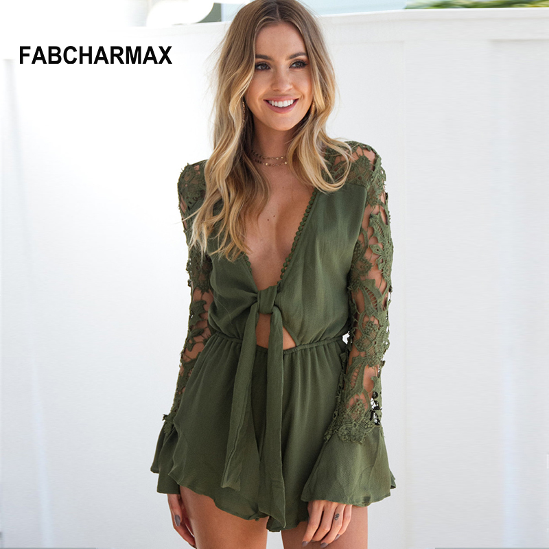 FABCHARMAX summer ladies hollow out lace playsuit long sleeve beach casual jumpsuits V-neck knotted sexy rompers womens jumpsuit