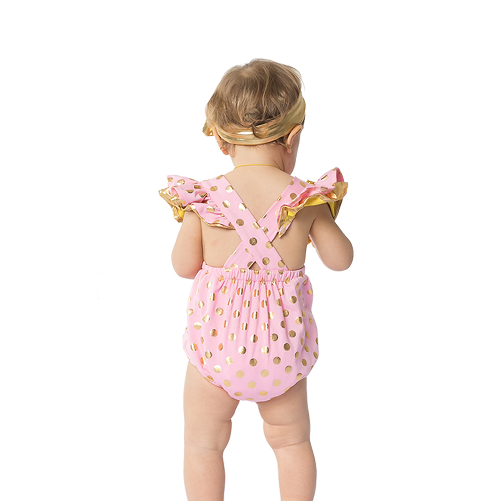 YK Loving Cute Baby rompers for girl clothes sleeveless Ruffles Gold Polka Dot Pink Black baby clothes newborn baby girl clothes in Rompers from Mother Kids