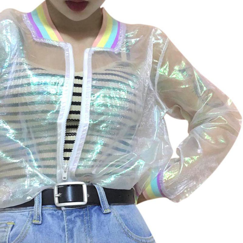 2020 Jacket Laser Rainbow Symphony Hologram Women Coat Iridescent Transparent Bomber Jacket Sunproof