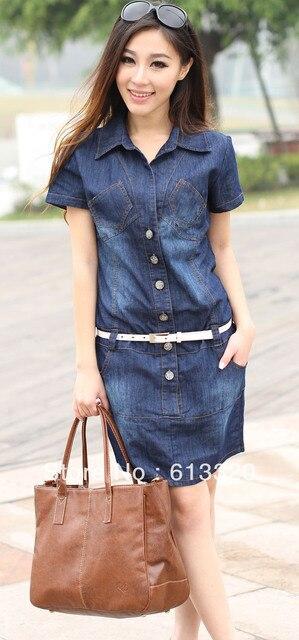FREE SHIPPING slim loose large size thin denim women's dresses