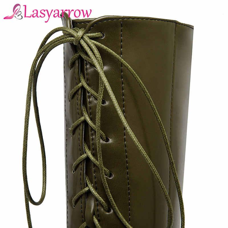 Lasyarrow 2018 Büyük Boy 33-50 Sonbahar Kış Marka Orta buzağı Çizmeler Kadın Platformu Seksi Lace up yarım çizmeler yüksek Topuklu Ayakkabılar
