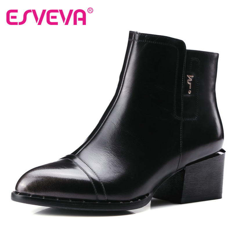 ESVEVA 2016 Pointed Toe Genuine Leather Women Shoes Western Style Square Med Heel Ankle Boots Women Fashion Boots Size 34-39
