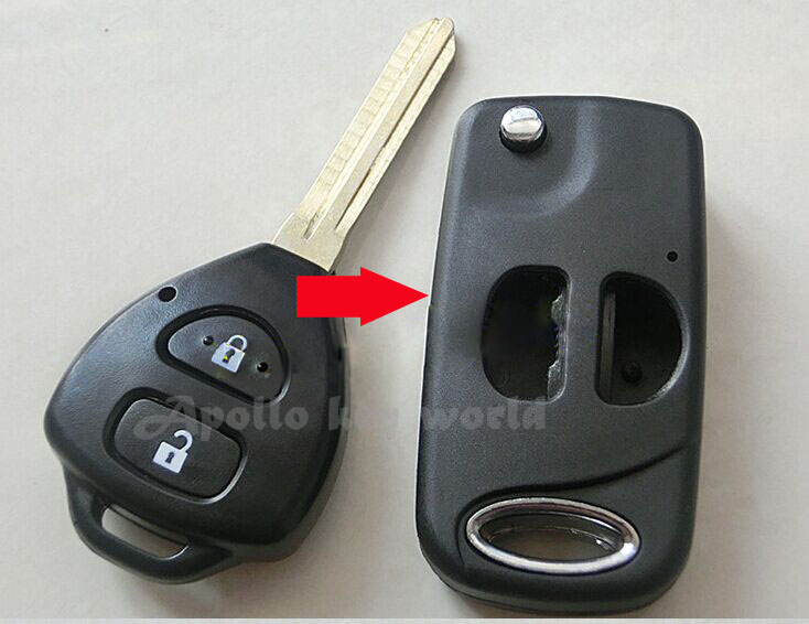 Top Quality Replacement Modified Folding Flip Remote Key Shell Case For Toyota Corolla RAV4 New Vios 2 Button Key Fob Cover