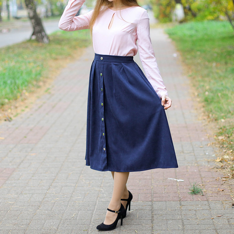 HDY Haoduoyi Pleated Skirts Button High Waist Elastic Mid Skirt Korean Style Women Skirts Fashion New 2018 Autumn Winter Bottom 7