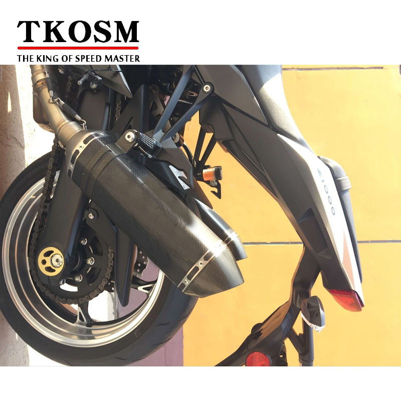 TKOSM Motorcycle Exhaust Universal 51mm Length 570mm Stainless Steel Carbon Fiber Face Motorbike Exhaust Pipe for modified exhaust motorcycle silencer exhaust pipe fiber stainless steel universal 36 51mm for suzuki hayabusa gsxr1300 gsxr7