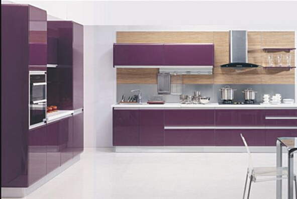 Modern Red High Glass Lacquer Kitchen Cabinet For Apartment Project