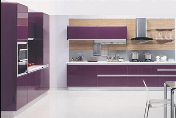 Modern Yang Merah Kaca Tinggi Lacquer Kabinet Dapur Untuk Proyek Apartemen
